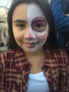 Day of the Dead/Halloween Skull half face paint by me (funnybunnyentertainment/Ms Scarlett Makeup and Hair) 2016