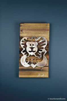 Phi Mu Lion Reclaimed Wood & Shaped Metal Art $85