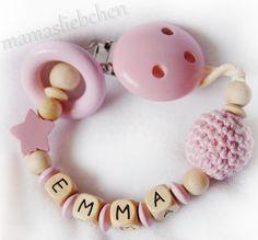 """Attache tétine """"perle crochet rose"""" personnalisé fille, model no. 18427"""