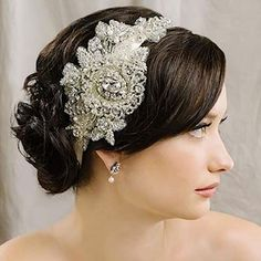 Sara Gabriel Headpieces & Hair Accessories. Violet hair ribbon is a heavily beaded applique joined with crystals a touch of pearls. A gorgeous headpiece with vintage flair.