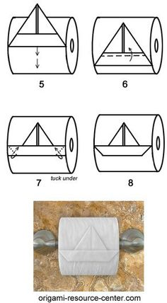 Papier Learn to make a toilet paper origami boat where the boat is still attached to th . Origami Boot, Toilet Paper Origami, Toilet Paper Art, Paper Oragami, Paper Paper, Napkin Folding, Paper Folding, Diy Papier, Boat Stuff