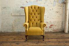 British Handmade Mustard Velvet Chesterfield Wing Chair, High Back High Back Armchair, High Back Chairs, Mustard Chair, Sofa Chair, Wingback Chairs, Chair Fabric, Living Room Chairs, Dining Room, Modern Chairs