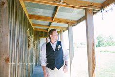 Groom attire - vest. Barn wedding.