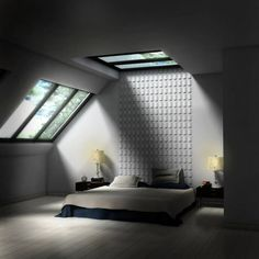 Wonderful Bedroom Skylight Ideas : Wonderful Bedroom Skylight Ideas With Black And White Bed Pillow Blanket And Wooden Sidetable And Glass R...