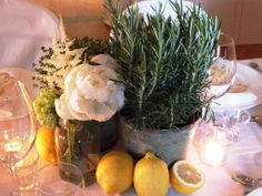 Rustic chic flower decor for vineyard wedding in Cortona, Tuscany