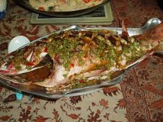 Thai fried fish (whole) with amazing garlic sauce.  Very good - but I made them with fillets instead - fewer bones!