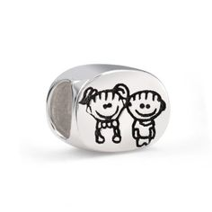 $14.99 This charming boy and girl bead is the perfect children bead to add to your family themed beads compatible with Pandora bracelet. Picture moms face when you gift her with this adorable sterling silver children bead, or put a smile on your sisters face and give her this brother and sister charm. Crafted from top quality .925 sterling silver, this silver bead features boy and girl characters on both sides of the bead...