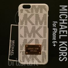 NEW Michael Kors iPhone 6+ Case in Black & White Brand new. Cute pattern! PU leather front in black and white. Gold name plate. Hardshell plastic. Snap on. Fits iPhone 6+. NO TRADES Michael Kors Accessories Phone Cases