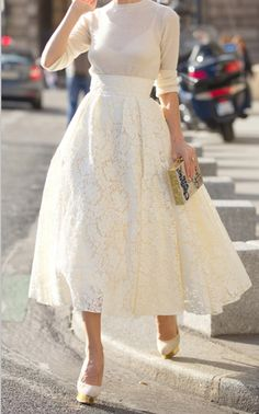 Tea for two and two for tea, / vintage high waisted lace tea length skirt and sheer knit sweater.