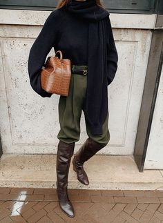 COS Jumper with Detectable Scarf , COS Green Cropped Trousers , Massimo Dutti Over-the-Knee Boots , Elleme Raisin Leather Bag , Ferragamo Belt Look Fashion, Teen Fashion, Fashion Outfits, Womens Fashion, Fashion Trends, Casual Fall Outfits, Fall Winter Outfits, Autumn Winter Fashion, Casual Winter