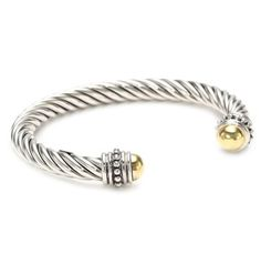 """Two-Tone"" 14k Yellow Gold-Plated and Sterling Silver Thick Twisted Cuff Bracelet Amazon Curated Collection,http://www.amazon.com/dp/B0035LC4XM/ref=cm_sw_r_pi_dp_kHI0rb143TQP9QJT"
