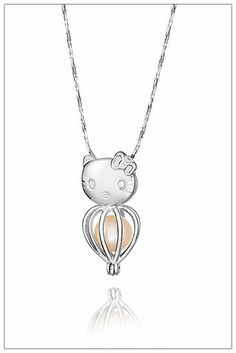 925 sterling silver cute monkey cage pendants love necklaces hello kitty pearl cage mozeypictures Gallery