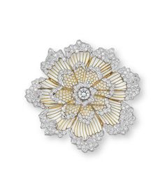 A DIAMOND BROOCH, BY BUCCELLATI Designed as a flowerhead, centering upon a brilliant-cut diamond, within a tiered openwork brilliant-cut diamond surround and trim, mounted in 18k white and yellow gold, 5.3 cm wide Signed Gianmaria Buccellati, Italy, No. H6698