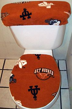 NCAA TEXAS LONGHORNS Fleece Toilet Seat Cover Set