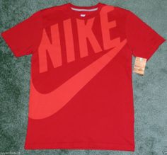 MEN'S SIZE LARGE T-SHIRT EXPLODED HUGE LOGO SWOOSH RED  #Nike #GraphicTee