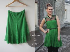 Refashionista: Knit skirt into dress | Pearls and Scissors