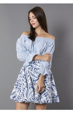 Pastel Blue Stripes Off-shoulder Top with Bowknot - Tops - Retro, Indie and Unique Fashion