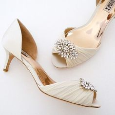 Badgley Mischka Caitlin, Ivory Wedding Shoes ~ Badgley Mischka Wedding Shoes. Gorgeous low heels that are long on glamour. Pleated organza toe, fabulous rhinestone ornament. Practical glam.