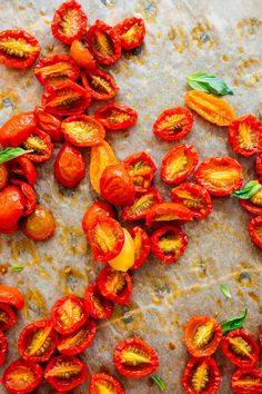 These slow-roasted cherry tomatoes are completely irresistible on salads, pizzas, eggs, toasts and more. Make this simple recipe with your surplus tomatoes! #tomatoes #summer #cherrytomatoes #roastedtomatoes #cookieandkate Roasted Cherry Tomatoes, Slow Roast, Easy Meals, Easy Salads, Easy Recipes, Cookie Recipes, Close Up, Toast, Eggs