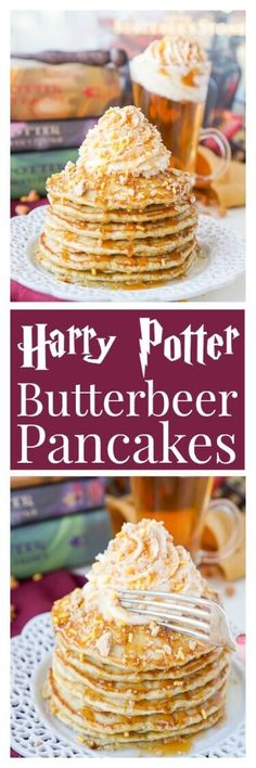 These Harry Potter Butterbeer Pancakes are loaded with caramel, butterscotch, vanilla, and butter flavor and the perfect nerdy start to your day or a great way to kick off The Chosen One's birthday!