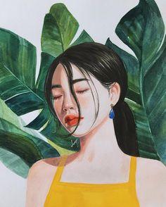 이미지: 사람 1명 Copic Drawings, Art Drawings Sketches, Beautiful Girl Drawing, Arte Sketchbook, Anime Art Girl, Fractal Art, Portrait Art, Aesthetic Art, Watercolor Illustration