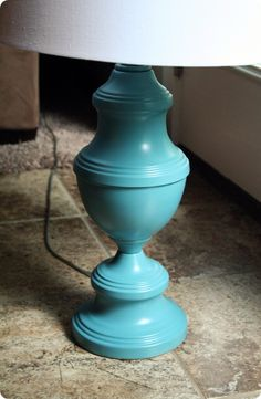 Spray paint a brass lamp.  Good idea for a brass (yukky) lamp at the beach house  good color for it too