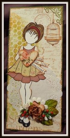 Graphic 45 and Prima Doll Stamp Card - Artfull Crafts
