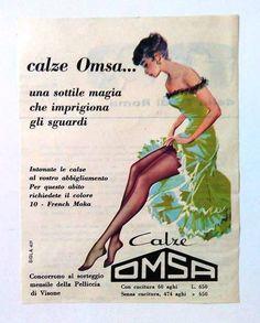 ADVERTISING-VINTAGE-PUBBLICITA' 1959 OMSA CALZE-COLLANT-MODA-MARCHIO STORICO