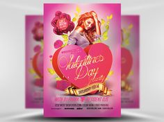 My favourite element in this Valentine's Day Flyer is the large 3D heart shaped box that acts as a background to the golden text.   The box almost looks like a Valentine's Box of Chocolates, which is a very smart addition to the design.