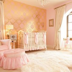 Pin for Later: 17 Enviable Nursery Ideas For Your Little Boy or Girl Pink and Gold Take a page out of the fairy tales with a pink and gold theme for your little princess.
