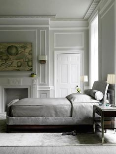 dustjacketattic:  grey bedroom | baker furniture