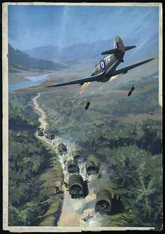 """""""Japanese troop convoy"""" by Roy Nockolds, Post-1941. A British Hurricane fighter attacking a Japanese troop convoy in jungle country (possibly Burma). Tracer shoots from the front of the aircraft, and the enemy soldiers scatter into the surrounding jungle."""