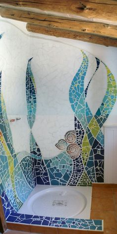 Mosaic on the wall. I invite you to visit the process of this mosaic for a priv . - Mosaic on the wall. I invite you to visit the process of this mosaic for a priv … Mosaic on the wall. I invite you to visit the process of this mosaic for a priv … Mosaic Bathroom, Mosaic Wall Art, Tile Art, Mosaic Glass, Mosaic Tiles, Stained Glass, Glass Art, Mosaic Mirrors, Sea Glass