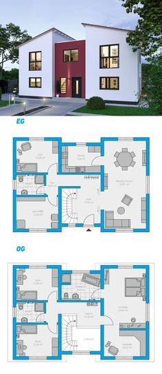 Illius 176 - schlüsselfertiges Massivhaus Illius 176 - Maison solide clé en main à 2 étages # ingutenwänden # À 2 étages Open Floor House Plans, Sims House Plans, Porch House Plans, Basement House Plans, Country House Plans, Modern House Plans, Small House Plans, Beautiful House Plans, Beautiful Homes