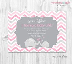Chevron pink and grey baby shower invitation baby by ceremoniaGlam