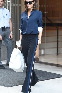 What to Wear to Work: Navy Blouse, Navy Tuxedo Pant