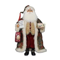 The Coffee Santa from Karen Didion Originals brings the joy of Christmas into your home. The quality of this figurine is unmatched with its hand-painted face, glass inset eyes, real mohair beard, unique fabric, and detailed accessories.