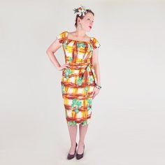 50er Jahre Kamehameha Green Print Baumwolle Sarong von denisebrain