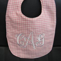 Pink and White Monogrammed Baby Bib, Personalized Baby Bib - pinned by pin4etsy.com