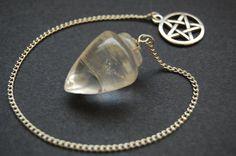 Clear Quartz Pendulum with Pentacle.  Pagan by CauldronCraftsUK, £6.50