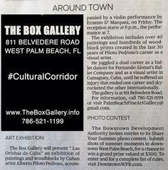 Box Gallery: In Today's Palm Beach Post! Alonso Company Ballet Dancer Exhibits Work In West Palm Beach's Box Gallery