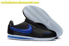 outlet store e4b59 98744 Kopen Nike Classic Cortez Nylon Heren Loopschoenen Borduurwerk Zwart  Donkerblauw