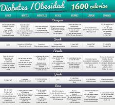 Dieta de 1600 calorias diarias para diabeticos