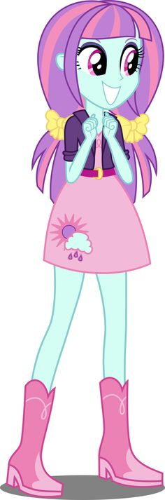 #993072 - adoraflare, alternate hairstyle, alternate universe, artist:xebck, belt, clothes, cute, equestria girls, friendship games, pigtails, safe, skirt, solo, spoiler:friendship games, sunny flare, vector - Derpibooru - My Little Pony: Friendship is Magic Imageboard