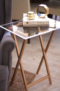 Accessorize your home with a DIY lucite tray table with this project.