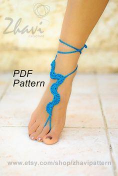 CROCHET PATTERN Blue barefoot sandals Beach by ZhaviPattern