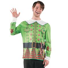 Ugly Christmas Sweater Elf T-Shirt Halloween Costume for Adults - Large
