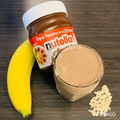 Prep Time: Yield: 1 Serving Ingredients Cup Quaker Oats (quick or old fashioned) 2 Tblspn Nutella(Hazelnut Spread Wit. Nutella Smoothie, Banana Oat Smoothie, Nutella Milkshake, Banana Oats, Fruit Smoothie Recipes, Milkshake Recipes, Healthy Smoothies, Morning Smoothies, Deserts