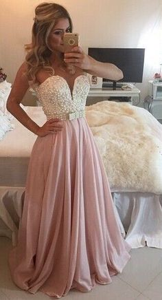 2017 Pearls Chiffon Prom Dresses Sweetheart Neck Sheer Open Back Long Formal Evening Gowns