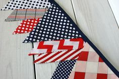 Bunting Banner, Photography Prop, Fabric Flags, Nautical Nursery Decor - Red, Navy Blue, Chevron, Stripes and Plaid - Ready to Ship